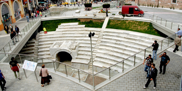 A small part of the northern section of the Roman stadium in Bulgaria's Plovdiv has been exhibited in situ in its downtown. Photo: Novotel Plovdiv