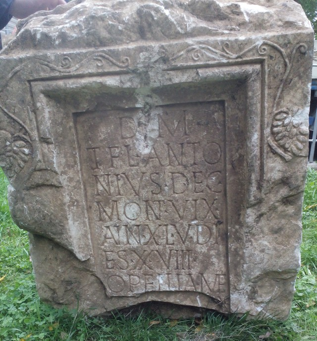 This marble gravestone of a Roman Decurion who lived in Castra ad Montanesium (today Bulgaria's Montana), and died at the age of 40, has been seized from antique traffickers in Bulgaria. Photo: Bulgaria's Interior Ministry