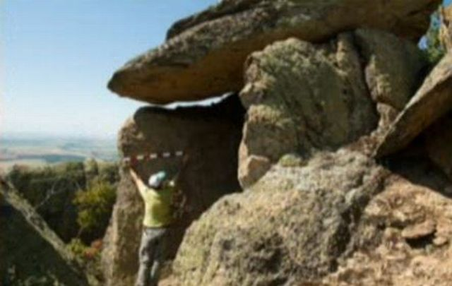 Another view of the newly found dolmen near Bulgaria's Zlatosel. Photo: TV grab from BNT