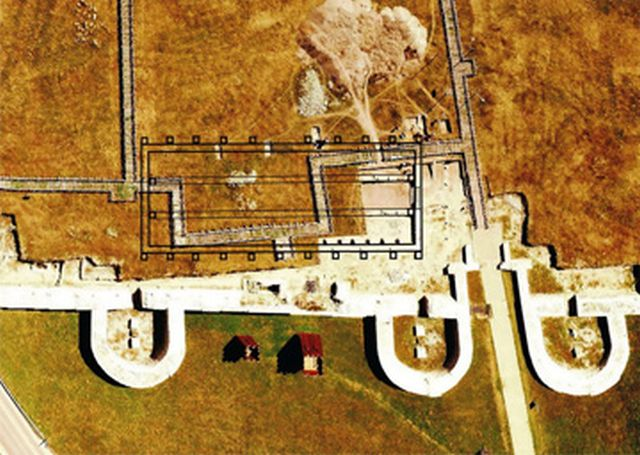 An aerial photo of the ruins of the Kovachevsko Kale Fortress showing the location of the newly found horreum (granary). Photo: Popovo Municipality