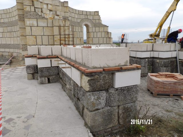 A photo showing the construction works for the restoration of the 9th century AD Great Basilica in Pliska, the early capital of the First Bulgarian Empire. Photo: National Museum of History