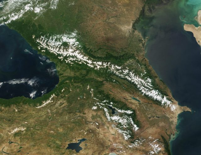"The region north of the Caucasus Mountain was where the Ancient Bulgars established Bulgaria (the First Bulgarian Empire) in 165 AD, according to recent findings in Ancient Armenian sources, a hypothesis confirmed by the manuscript called ""Nominalia of the Bulgarian Khans"". Photo: NASA/Wikipedia"
