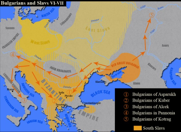 A map showing the 7th century AD migrations of the Ancient Bulgars from the so called Old Great Bulgaria located in today's Ukraine and Southwest Russia. Map: Kandi, Wikipedia