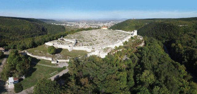 An aerial view of the ruins of the Shumen Fortress towering above the modern-day city of Shumen in Northeast Bulgaria. Photo: BNR