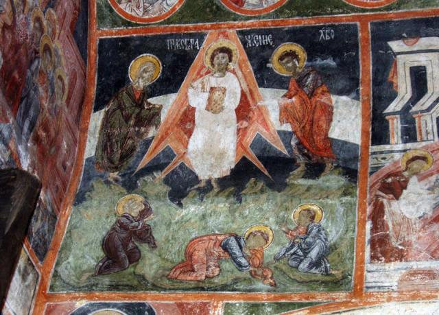 "The mural of the Transfiguration of Jesus Christ in the Dobrarsko Church which has been interpreted in media publications as depicting Jesus inside a ""space rocket"" with images of the Earth's atmosphere and stratosphere in the background - an interpretation widely criticized by experts. Photo: Pravoslavieto"
