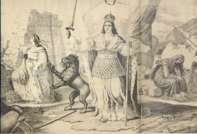 """Bulgaria after the Treaty of Berlin"", a litography by Bulgarian painter Nikolay Pavlovich depicting the partitioned Bulgaria as three sisters representing the three historic provinces and geographic regions of Bulgaria - Moesia, Thrace, and Macedonia, depending on their status after the Berlin Treaty: the first sister Moesia (representing the Principality of Bulgaria) stands free (in the middle); the second sister, Thrace, representing the autonomous region of Eastern Rumelia, stands subordinated to the Ottoman Sultan (on the left), and the third sister, Macedonia, stands still in the chains of the Ottoman Yoke (on the right, in the background). Photo: ClubHistory138"
