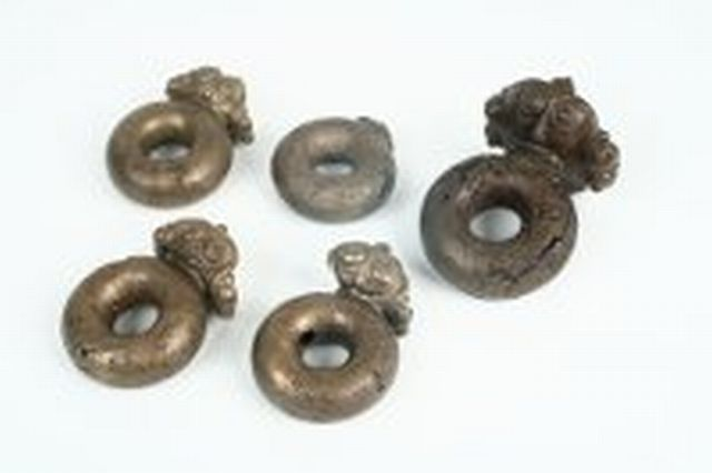 "These five rein rings from a Celtic chariot, found in a Thracian burial mound, are five of the seven artifacts with which Bulgaria is participating in the ""Celts"" exhibit in Edinburgh. Photo: National Institute and Museum of Archaeology"