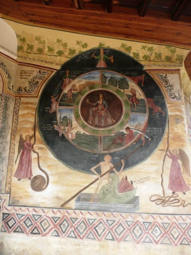 "Zahari Zograf's ""Wheel of Life"" (""Cycle of Life"") mural from the Transfiguration Monastery near Veliko Tarnovo. Photo: Nikolov2010, Wikipedia"