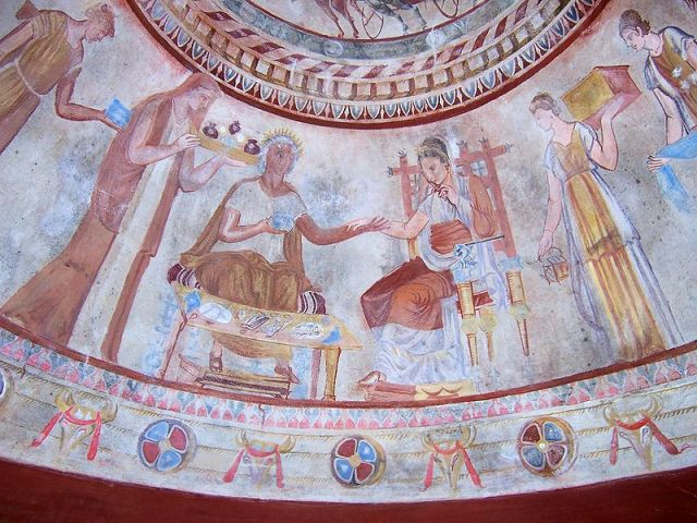 The scene from the murals of the Kazanlak Tomb of the Thracian king with his queen which is featured on the children's book cover. Photo: Psy, Wikipedia