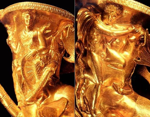 Ancient mythology scenes depicted on the vessels of the Panagyurishte Treasure: (left) wisdom goddess Athena; (right) Thesius fighting the Cretan (Marathonian) Bull. Photos: Panagyurishte Museum of History