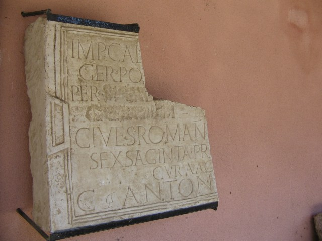 A partially preserved Roman inscription from Sexaginta Prista in Bulgaria's Danube city of Ruse mentioning the Roman city's name. Photo: Martyr, Wikipedia