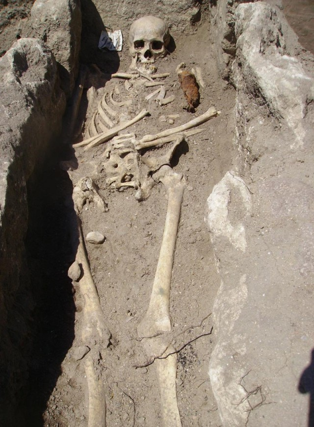 "This 2012 photo shows the newly discovered skeleton of the later world-famous ""Sozopol Vampire"" which gave the start to the ""vampire"" hype in Bulgarian media. Photo: National Museum of History"