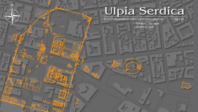 A maps showing the location of the Western Gate and customs of Ancient Serdica (and all of ancient Serdica against the backdrop of the downtown of today's Bulgarian capital Sofia. Map: UlpiaSerdica.com