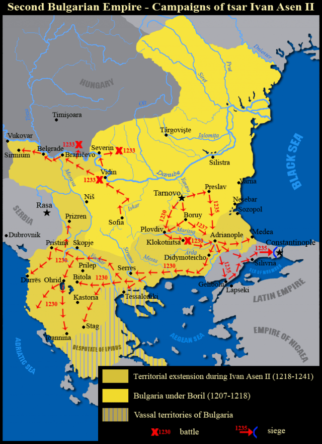 The military campaigns and battles of Tsar Ivan ASen II of the Second Bulgarian Empire. Map: Kandi, Wikipedia