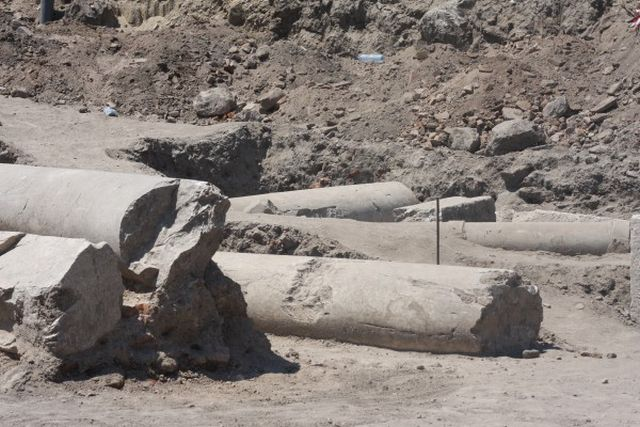 It is still unknown whether the newly discovered large marble pillars were in fact part of the 5th century Great Basilica of ancient Philipopolis in Bulgaria's Plovdiv. Photo: Plovdiv24