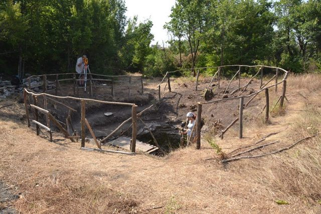 The excavations of the medieval water reservoir of the Lyutitsa Fortress. Photo: Ivaylovgrad Municipality Facebook Page