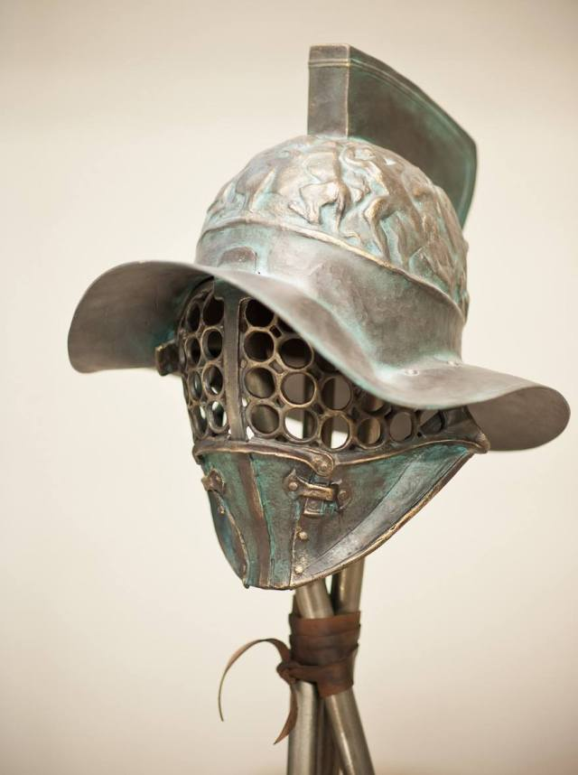 A total of 22 replicas based on authentic ancient and medieval gladiator helmets, which have been featured in Hollywood films, are showcased in the exhibition of the Bulgarian artists from Bird Art Studio. Photo: Bird Art Studio