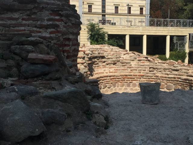 Archaeological structures from the Western Gate of Ancient Serdica in downtown Sofia under restoration, with the Catholic Cathedral St. Joseph visible in the background. Photo: Sofia Mayor Facebook Page
