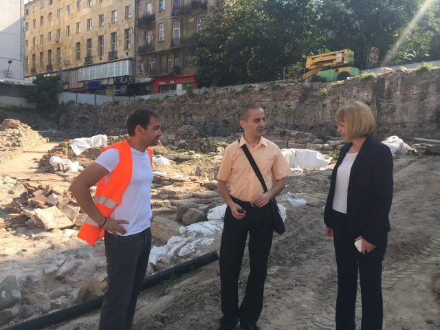 Sofia Mayor Yordanka Fandakova (right) and Deputy Mayor and archaeologist Todor Chobanov (middle) inspecting the restoration of the Western Gate of Ancient Serdica. Photo: Sofia Mayor Facebook Page