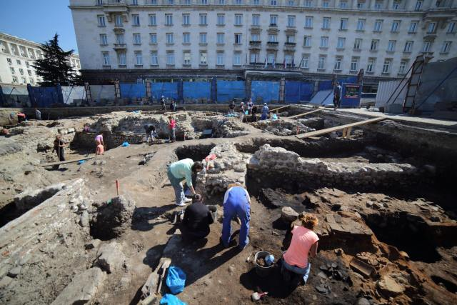 The excavations of a large monumental Roman building on the St. Nedelya Square in downtown Sofia with the Sofia Hotel Balkan (formerly the Sofia Sheraton) in the background. Photo: Geo Kalev / Sofia Mayor Facebook Page