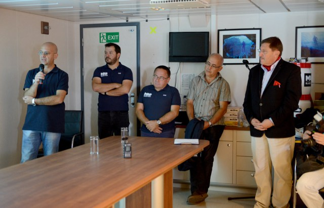 Assoc. Prof. Krum Bachvarov (left), Assist. Prof. Kalin Dimitrov (middle), and Assoc. Prof. Lyudmil Vagalinski (second on the right) during the public presentation of the expedition's results in Bulgaria's Black Sea city of Burgas. Photo: Black Sea M.A.P.