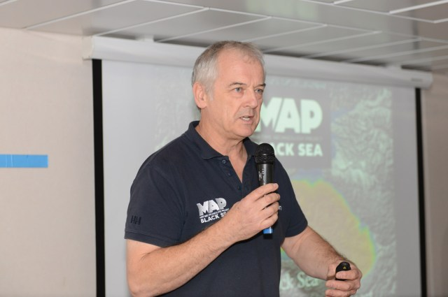 Prof. Jon Adams during the public presentation of the expedition's results in Bulgaria's Black Sea city of Burgas. Photo: Black Sea M.A.P.