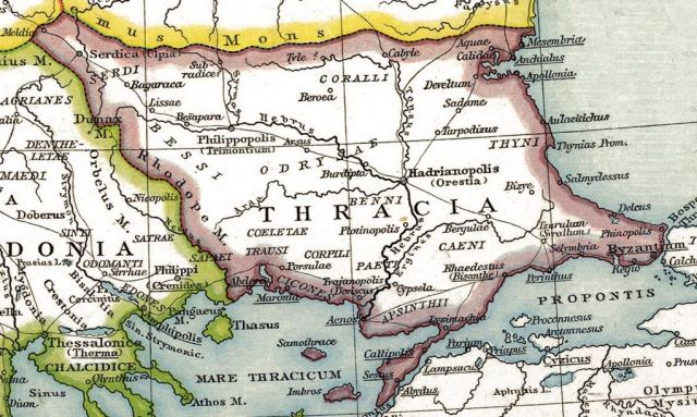 The Roman Province of Thracia (Thrace). Map: Wikipedia