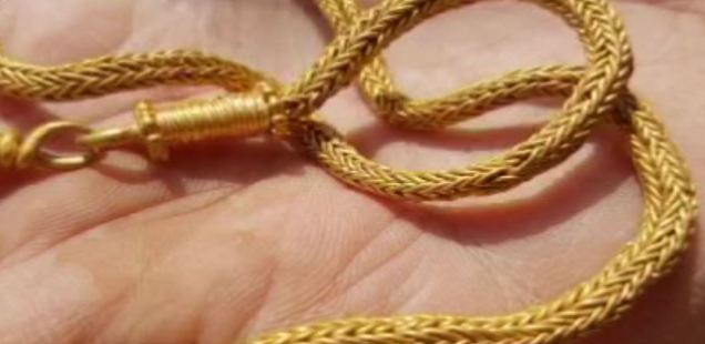 Ancient Roman Gold Necklace Discovered by Archaeologists in Ancient City Heraclea Sintica in Southwest Bulgaria