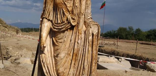 Roman Magistrate's Statue from ca. 100 AD Found by Archaeologists in Ancient City Heraclea Sintica in Southwest Bulgaria