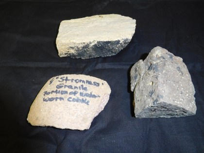 Selection of rocks found at The Ness of Brodgar including a water worn cobble originating from Stromness - 8km distance from the Ness