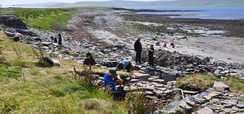 Excavation under way at the Knowe of Swandro, Rousay, Orkney.