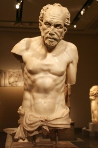 Old fisherman statue from the Hadrianic baths of Aphrodisias. Image source: Wikimedia Commons.
