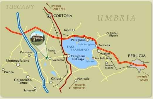 Map of lake Trasimeno and surrounding area. From Smore.com.