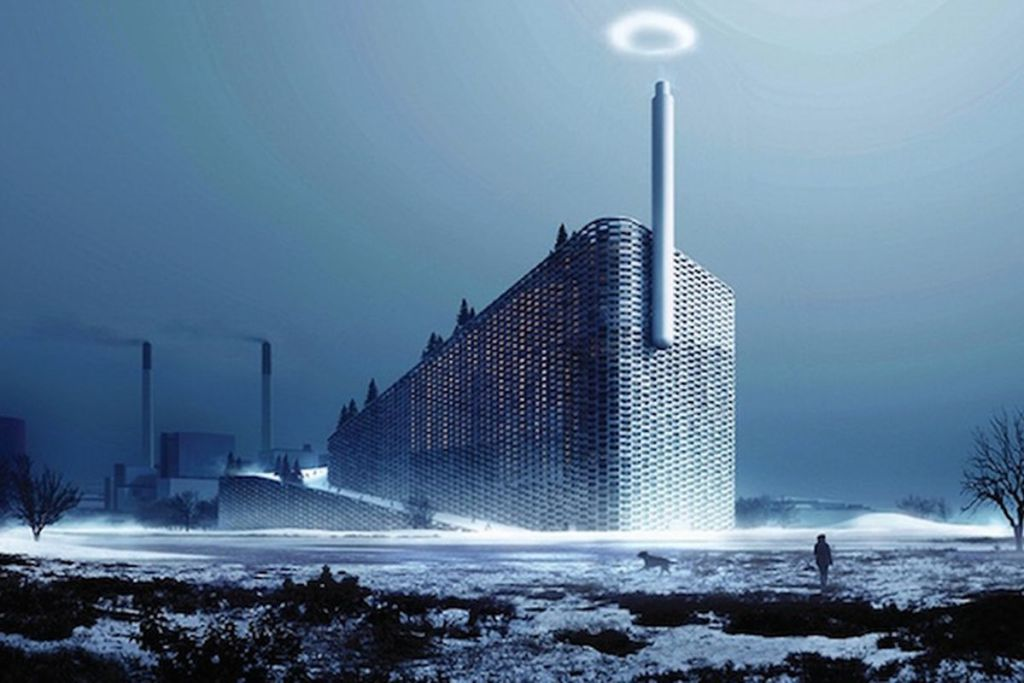 Power Plant witha alpine skyslope on top of it(CURBED)