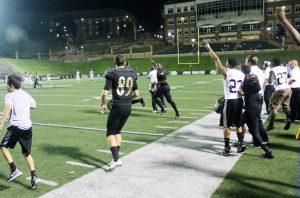 Lindenwood Celebrates it's game winning TD against Washburn 9/4