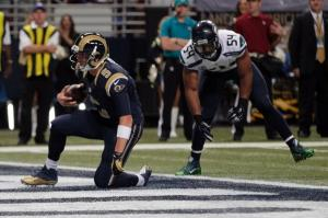 Rams QB Nick Foles after he rushes for a touchdown to put the Rams ahead.