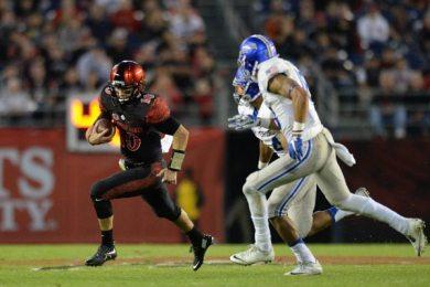 SDSU quarterback Christian Chapman scrambles on Air Force's defense. Photo via Jake Roth/USA TODAY Sports.