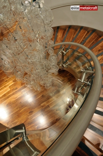 Kings Road Retail Staircase Glass Balustrade Stainless Steel | Stainless Steel Handrail With Glass | Balustrade | Steel Railing | Price | Aged Polished Steel | Wood