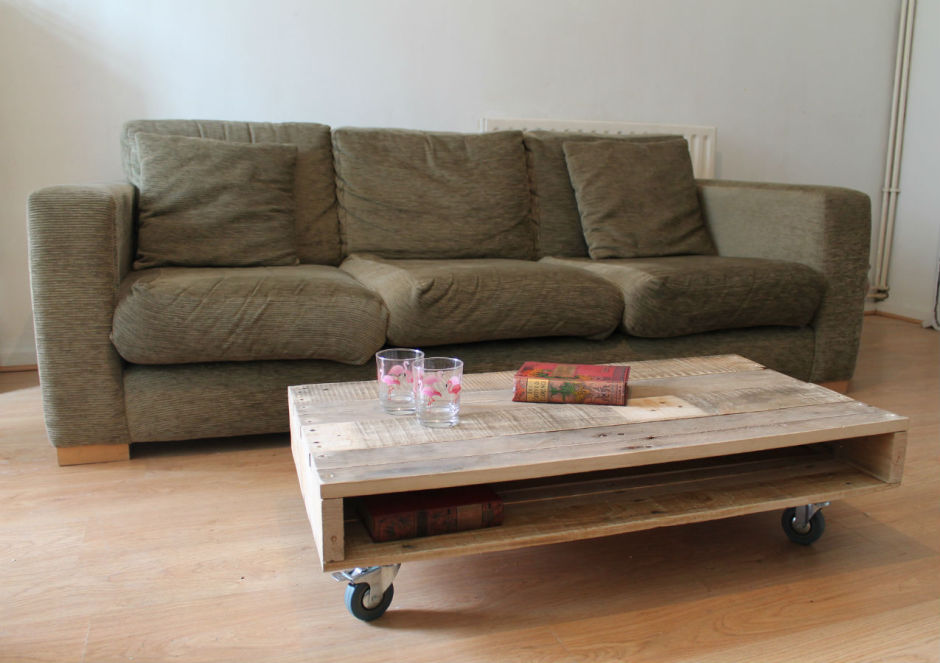 pallet coffee table on wheels by gas