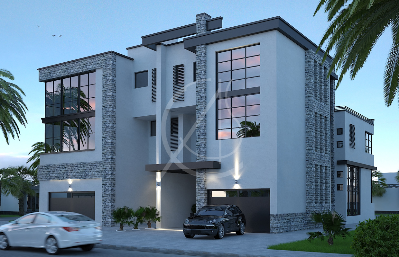 Twin Courtyard Modern House Design