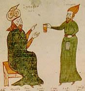 Enluminure byzantine du XVe d'un traité sur les urines.