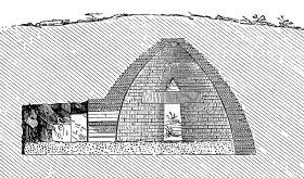Coupe d'une tombe mycénienne (tholos)