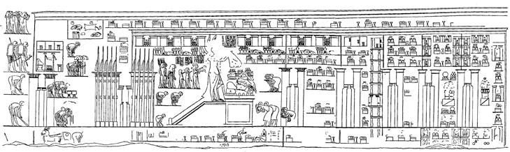 Représentation du grand temple d'Aton à Amarna, dans la tombe de Panehsy.