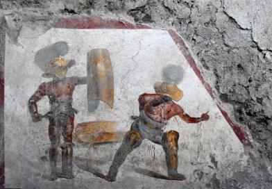 fresque combat gladiateur Pompéi
