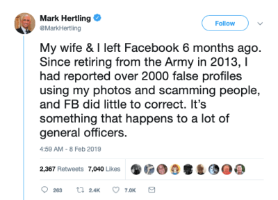 A Twitter post from a general talking about romance scammers