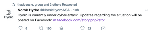 Tweet from Hydro about the ransomware cyberattack
