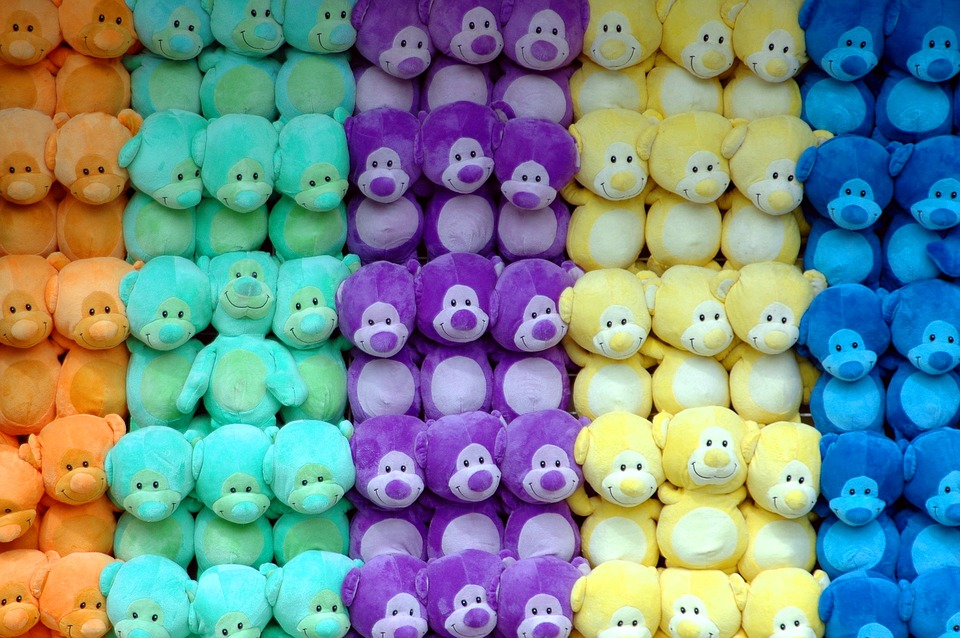 Stuffed animals at a carnival