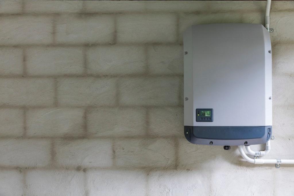 Solar inverter on a wall