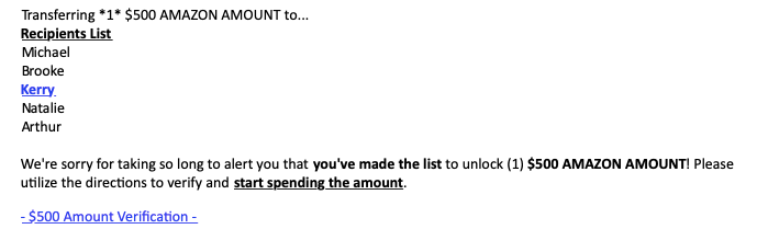 Amazon money email from Walmart job spam sender Start A Career Today