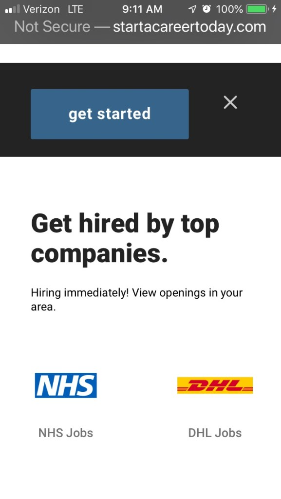 Website of Start A Career Today, which sends out Walmart job spam